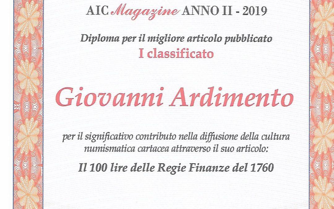 """Il Miglior Articolo dell'anno di """"AIC Magazine"""" 2019 – Giovanni Ardimento"""