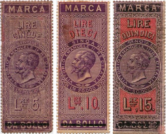 LE MARCHE DA BOLLO PER CAMBIALI USATE COME CARTAMONETA NEL 1866