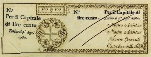 IL 100 LIRE DELLE REGIE FINANZE 1760