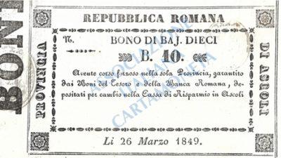 II REPUBBLICA ROMANA, UN BUONO INEDITO DELLA PROVINCIA DI ASCOLI