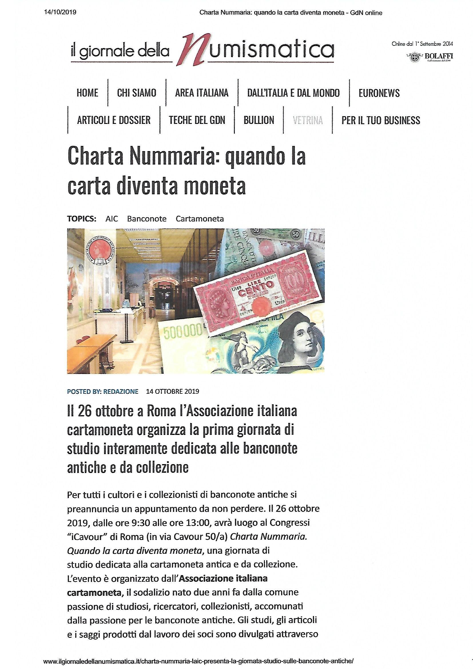 """il giornale della numismatica scrive di """"CHARTA NUMMARIA"""""""