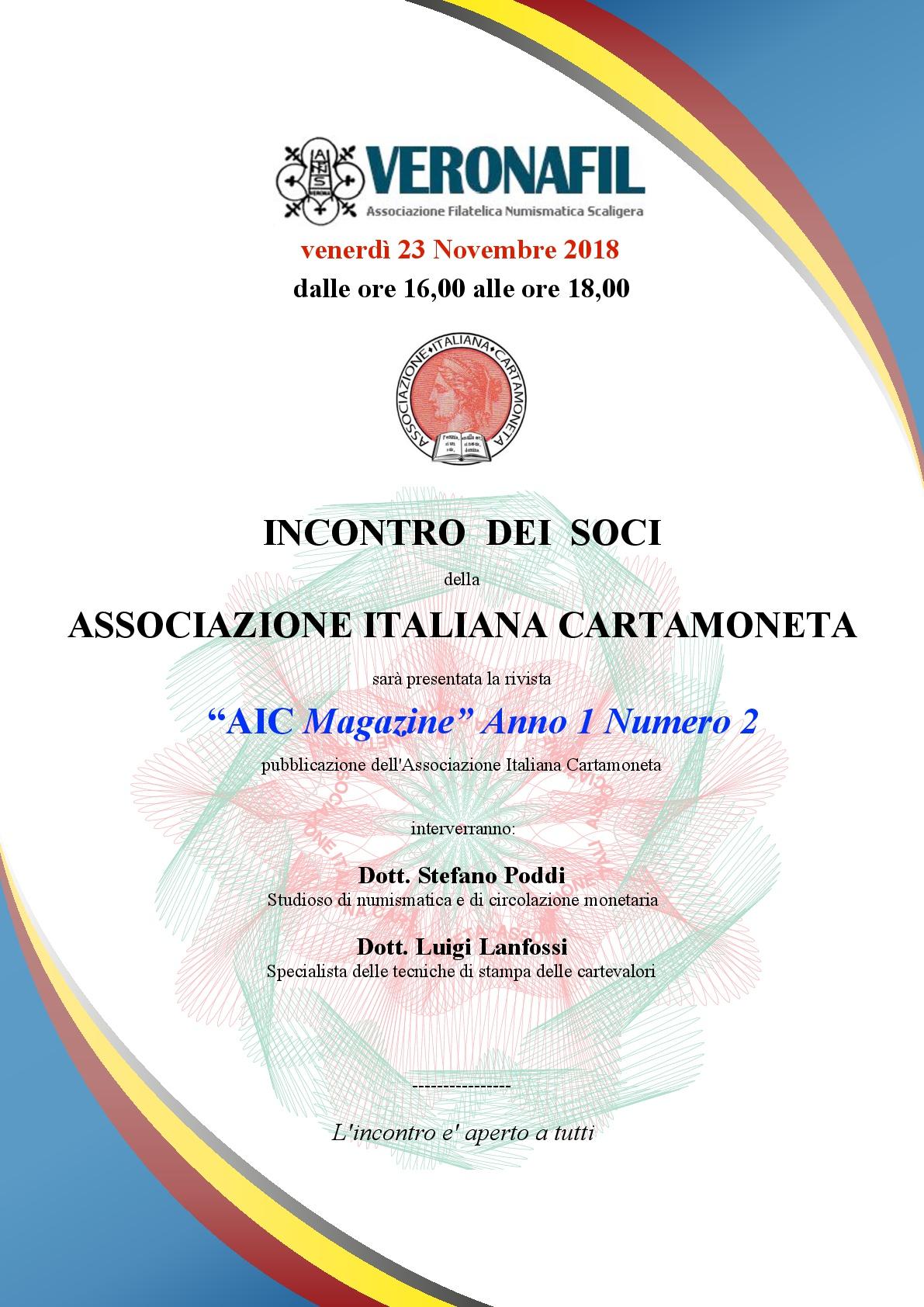 """PRESENTAZIONE DI """"AIC Magazine"""" ANNO I, N.2 A VERONAFIL"""